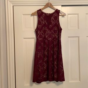 Red burgundy lace dress